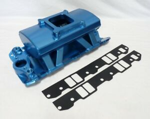 New Item Blue Fabricated Aluminum Intake Manifold Small Block Chevy Sbc 350 400