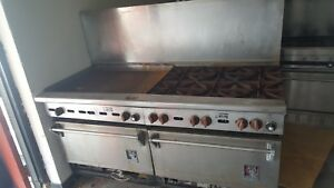 Wolf 6 Burner Range Double Oven Combo Flat Top Griddle