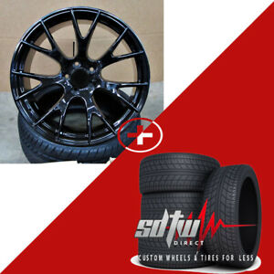 20 Hellcat Style Wheels Gloss Black W Tires Fits Dodge Magnum Charger Awd 30