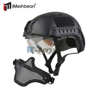 Military Tactical Gear Airsoft Paintball SWAT Protective Helmet w Goggle Gloves