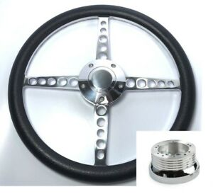 14 Polished Billet Steering Wheel black Wrap Horn Button Hub Adapter A01