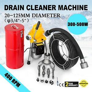 3 4 5 Pipe Drain Cleaner Machine Cleaning Snake Flexible 400w