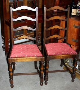 A Pair Of Victorian Oak Ladder Back Dining Chairs Free Shipping Pl4422