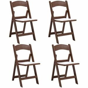 4 Pcs Folding Chair Wedding Banquet Ergonomic Stackable Chair With Padded Seat