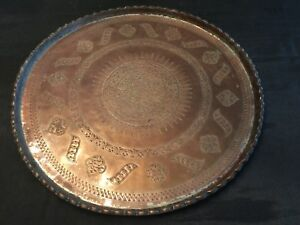 Turkish Ottoman Antique Islamic Copper Plate Tray 1800