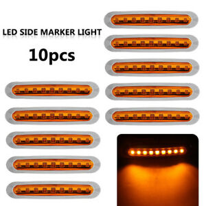 10x 9 Led Clearence Car Truck Trailer Side Marker Indicators Light Lamp Durable