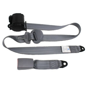 Gray 3 Point Car Front Seat Belt Buckle Kit Automatic Retractable Safety Straps