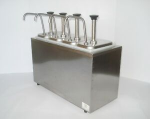 Server Bar Insulated Stainless Sauce Syrup Concession Condiment 4 pump Dispenser