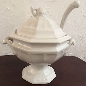 Vintage Ironstone Soup Tureen With Ladle Marked Red Cliff Servingware Dining