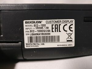 Bixolon Serial Customer Display Black Bcd 1000dg New
