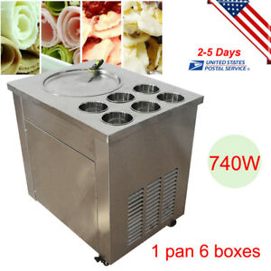 Thai Fried Ice Cream Machine Roll Ice Cream Making Machine 1 Pan 6 Boxes 110v