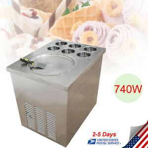 Commercial Fried Ice Cream Maker Fried Ice Cream Roll Machine With 6barrels 1pan