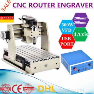 Usb 4 Axis Cnc Router 3020 300w Engraver Engraving Milling Pcb Carving Machine
