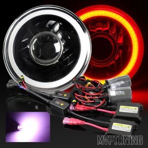 7 Round Hi Power 3d Red Smd Halo Black Housing Projector Headlights 12000k Hid