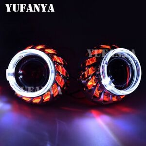 Headlight 2 5 Bi Xenon Hid Projector Lens Red Led Angel Eyes H1 H4 H7 Retrofit