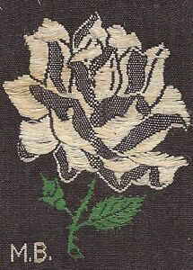 Vintage Woven German Silk Applique Use In Crazy Quilt Turmac Rose Flower