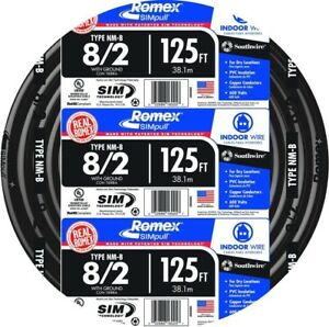 Southwire Romex Simpull Nm b Cable Wire 125 Ft 8 2 Black Stranded Indoor Use