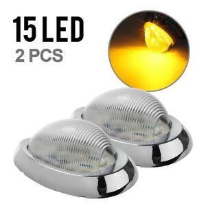 2x Clear Amber 6 15 Led Side Marker Turn Signal Light For Freightliner Century