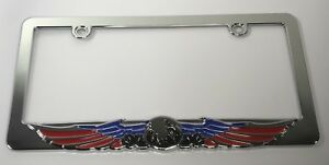 American Flag Eagle License Plate Frame Chrome Red Blue Black