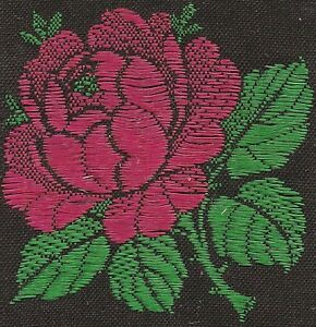 Vintage Woven Tobacco Cigarette Silk Use In Crazy Quilt Turmac Flower Rose