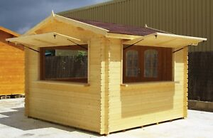 9 8 x 9 8 Kiosk Poolside Retail Vending Stand Log Wood D i y Building Kit