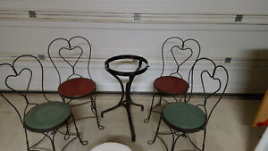 Vintage Ice Cream Parlor Chairs And Table