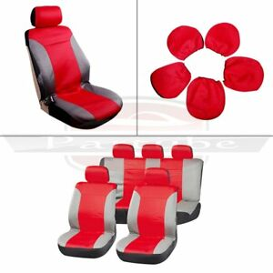 Red Gray 2mm Padding Car Seat Covers W Headrest Covers Stretchy For Porsche