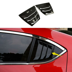 Shiny Rear Quarter Panel Window Side Louvers Vent Fit For Mazda3 4d 2014 2018