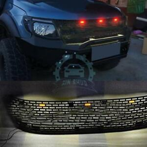 For Ford Ranger T6 2012 2014 Front Hood Grille With Led Trim Mesh Cover