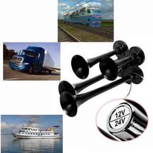 4 Trumpet Air Horn Black Super Loud 12v 24v 150db Compact Car Boat Train Truck