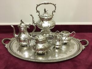 Sheffield Circa 1880 S Victorian Silver Plate Hummingbird Coffee And Tea Service