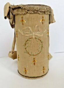 18c French Silk Covered Sifter Container Bees A Little Ribbon Embroidery
