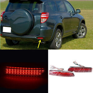 Red Lens Rear Bumper Reflector Led Fog Tail Warn Lamp For Toyota Rav4 2006 12