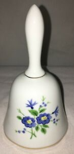 Antique Porcelain Dinner Bell With Ball And Chain Floral Designs