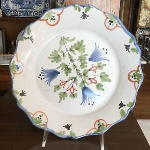 Antique Dutch Delft Pottery Plate Bowl Floral Flowers