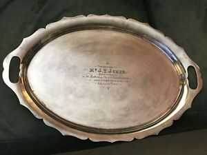 English Serving Tray Silverplate Silver Marked Dated 1913 Wales Church Inscribed