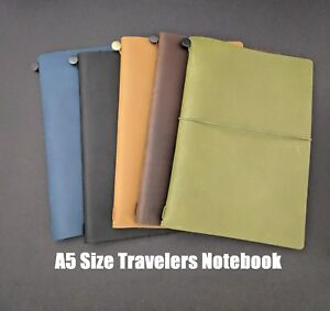 A5 Size Travelers Notebook Hobonichi Cover Genuine Leather Refillable Diary