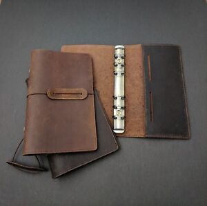A6 Personal Size 6 Ring Planner Genuine Leather Brown Journal Men Style