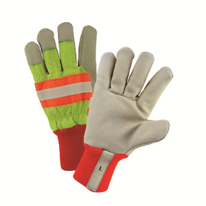 Xlarge High visibility Yellow Grain Pigskin Leather Palm Lined Gloves Dozen