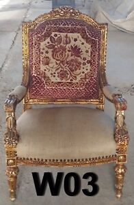 Beautiful Vintage French Provincial Gold Carved Wood Accent Arm Chair Coral