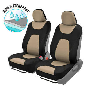 Beige Waterproof Car Seat Covers Sideless Compatible W Controls