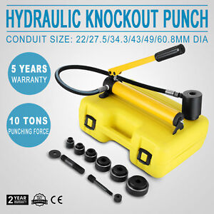 6 Die 10 Ton Hydraulic Knockout Punch 1 2 To 2 Durable Portable Driver Kit