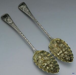 1793 Antique English Sterling Silver Fruit Serving Spoons 2