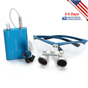 Dental Surgical Binocular Loupes 3 5x 420mm With Led Head Light Lamp Blue Us Fda