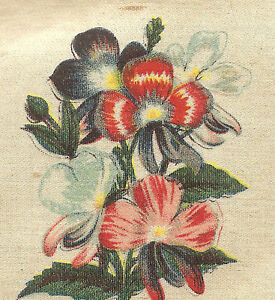 Vintage Antique Silk Applique Use In Crazy Quilt Block Flower Schizanthus