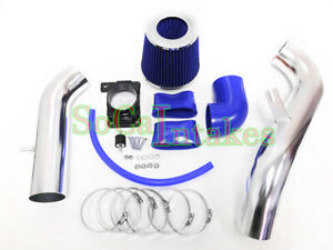Blue 2pc Cold Air Intake Kit Filter For 2000 05 Mitsubishi Eclipse 2 4l 4cyl