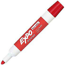 Sanford 174 Expo Low Odor Dry Erase Marker Bullet Point Red Ink Dozen Lot