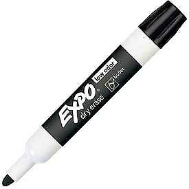Sanford 174 Expo Low Odor Dry Erase Marker Bullet Point Black Ink Dozen