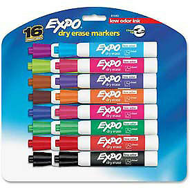 Sanford 174 Expo Low Odor Dry Erase Marker Chisel Tip Assorted Ink 16 set