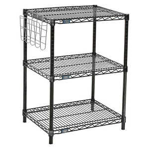 Black Wire Shelf Printer Stand With Document Holder 3 shelf 24 w X 18 d X
